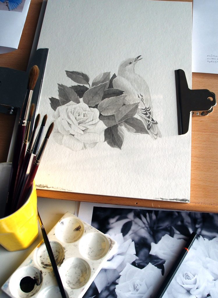 fågel och ros